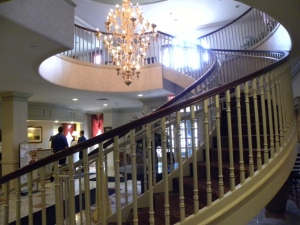 Lobby of the Middletown Inn with its showpiece staircase
